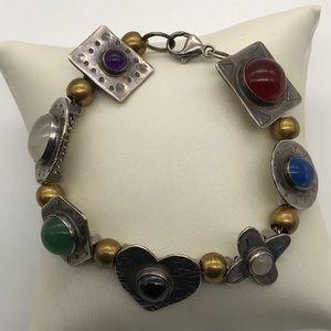 Signed RobinLee Becker Sterling Gemstone Bracelet